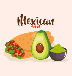 Delicious mexican burrito icon vector