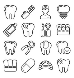 dental icons set on white background line style vector image