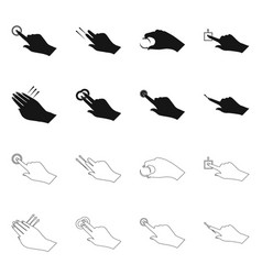 Design of touchscreen and hand symbol set vector