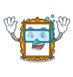 diving picture frame character cartoon vector image