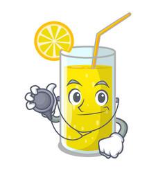 Doctor lemon juice glass on cartoon shape vector