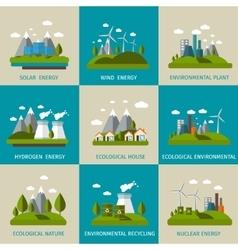 Ecology Icon Flat Set vector