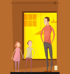 Father abusing children composition vector