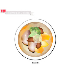 finnbiff or sauteed reindeer popular dish of norw vector image