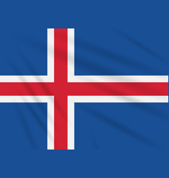 Flag iceland swaying in wind realistic vector