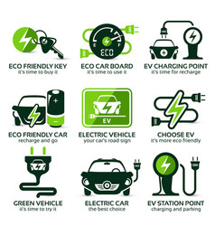 Flat icon set for green eco electric car vector
