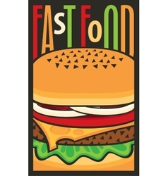 for fast food restaurant with cheeseburger vector image