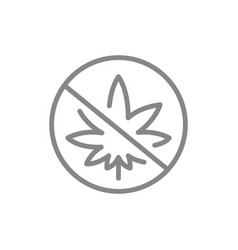 forbidden sign with cannabis leaf line icon no vector image