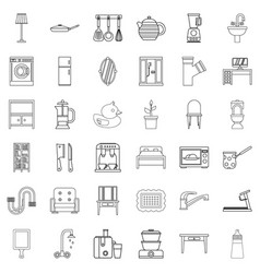 furniture icons set outline style vector image
