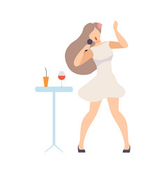 girl in cocktail dress singing with a microphone vector image