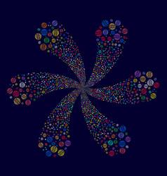Globe swirl flower with six petals vector