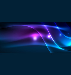 Glowing abstract wave on dark shiny motion magic vector