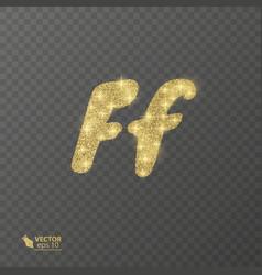 golden shiny letter f on a transparent background vector image