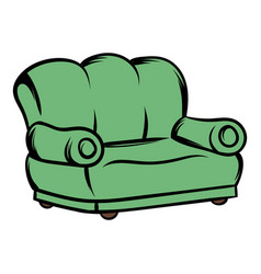 green sofa icon cartoon vector image