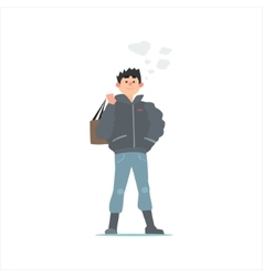 Guy In Black Winter Jacket vector image