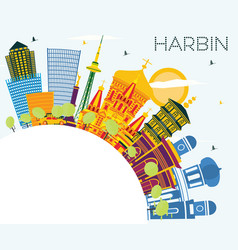 harbin china city skyline with color buildings vector image