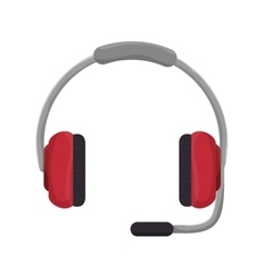 Headphone with microphone vector
