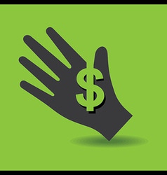 Human hand with dollar symbol concept vector image