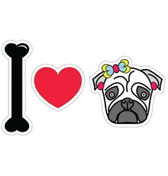 I love pug female pug with earings and a bow vector