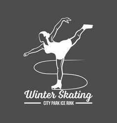 Ice skating label logo vector