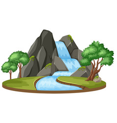 Isolated water fall landscape vector