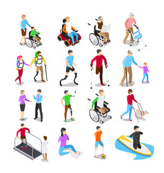 isometric disabled people disability care vector image