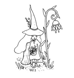 little sorceress with a staff in the form of a vector image