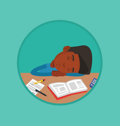 male student sleeping at the desk with book vector image
