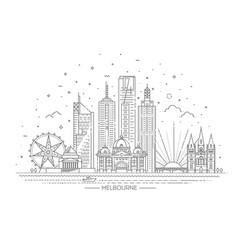 melbourne australia city skyline vector image