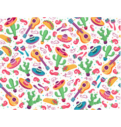 mexican seamless pattern with cactus and guitar vector image