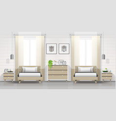 Modern bedroom with twin beds background vector