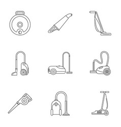 modern vacuum cleaner icon set outline style vector image