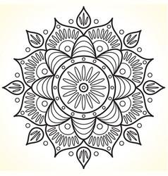 Monochrome contour flower mandala vector