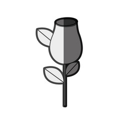 Monochrome silhouette rosebud with leaves and stem vector