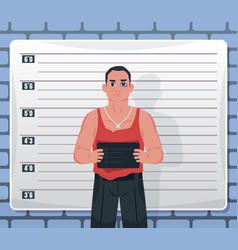mugshot arrested male criminal suspect holding vector image