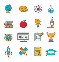 Online education colored line web icon set vector