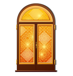 orange door with oriental ornament vector image