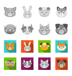 owl cow wolf dog animal muzzle set collection vector image