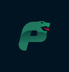 P letter logo with snake head silhouette vector