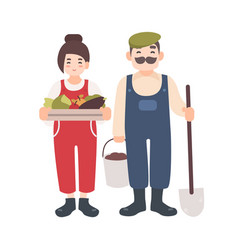 Pair of smiling male and female farm or garden vector