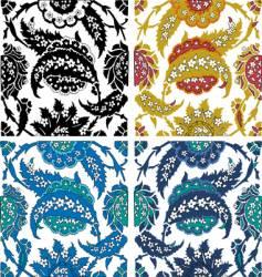 paisley floral elements vector image