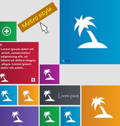 Palm Tree Travel trip icon sign Metro style vector