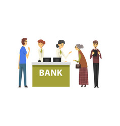 People consulting at managers at bank office vector