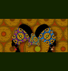 Portrait beautiful afro women african batik style vector