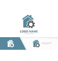real estate and gear logo combination vector image