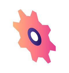 Red cogwheel icon isometric style vector