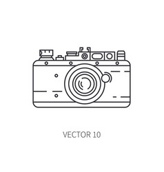 Retro 35mm film camera line icon summer vector