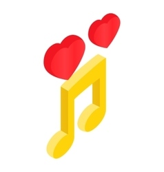 Romantic music isometric 3d icon vector image
