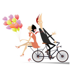 romantic young couple rides on the bike isolated i vector image