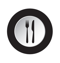 Round black white button icon - fork and knife vector